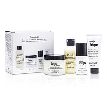 Philosophy Hope for the Best Coffret: Cleasner 60ml + Mositurizer 60ml + Eye Cream 15ml + Hand Cream 30ml