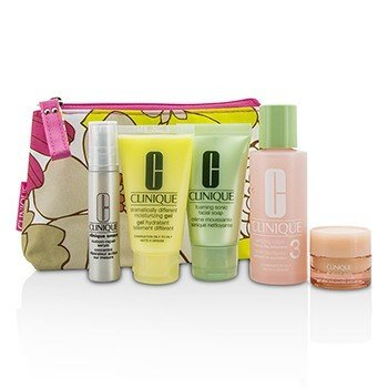 Clinique Travel Set: Facial Soap 30ml + Lotion 3 60ml + DDMG 30ml + Serum 10ml + All About Eyes 7ml + Bag