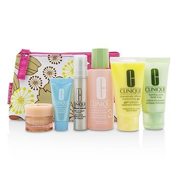 Clinique Travel Set: Facial Soap 30ml+Lotion 3 60ml+DDMG 30ml+Smart Serum 10ml+Turnaround Serum 7ml+All About Eyes 7ml+Bag