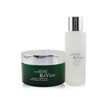 Re Vive Glycolic Renewal Peel Professional System: Cleansing Pad 30pads + Renewal Gel 118ml
