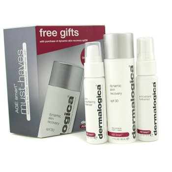 Dermalogica Age Smart Travel Set: Dynamic Skin Recovery + Skin Resurfacing Cleanser + Antioxidant HydraMist