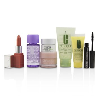 Clinique Travel Set: M/U Remover 30ml+Facial Soup 30ml+Moisture Surge 15ml+DDML 15ml+Moisture Cream 7ml+Mascara 2.5ml+Lip Color 2.3g