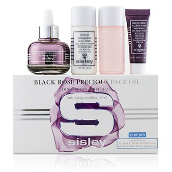 Sisley Black Rose Precious Face Oil Discovery Program: Face Oil 25ml + Lyslait 30ml + Floral Toning Lotion 30ml + Cream Mask 10ml